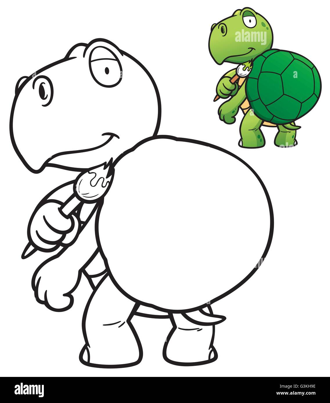Vector Illustration Of Cartoon Turtle Coloring Book Stock