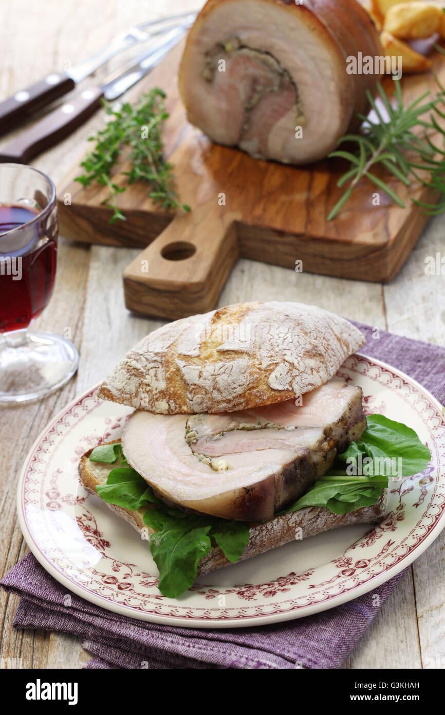 homemade porchetta panini, italian roast pork sandwich - Stock Image