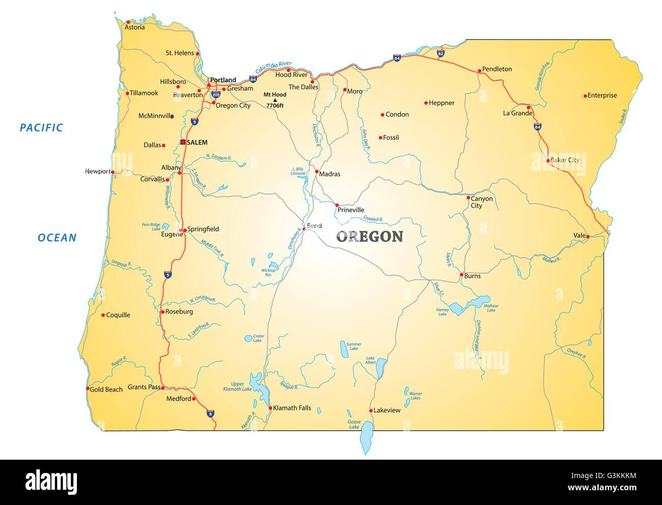 oregon state map Map Of Oregon State Stock Photos Map Of Oregon State Stock oregon state map