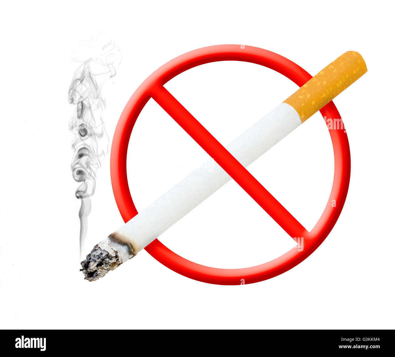 A photographic version of the 'no smoking' symbol, with smoke rising off cigarette - Stock Image