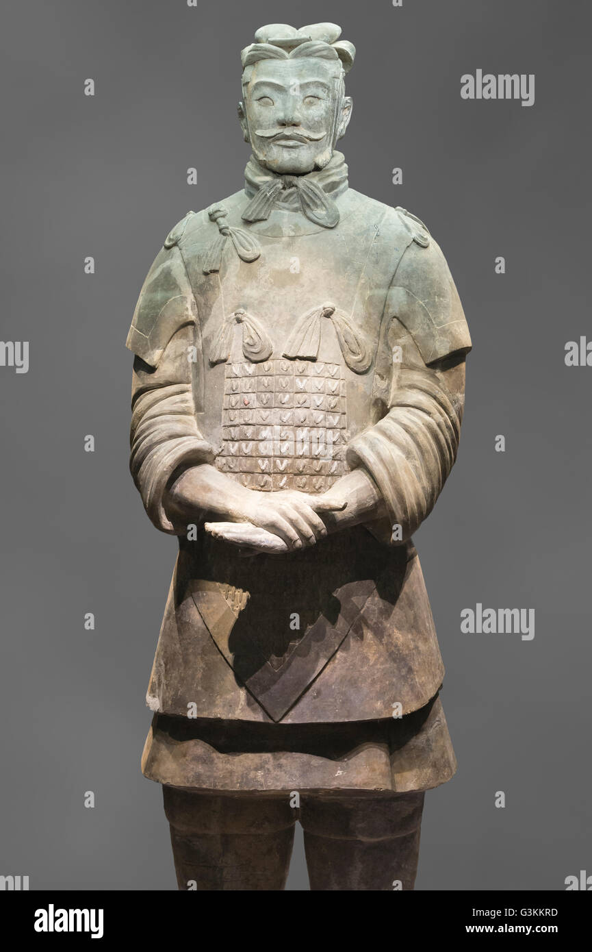 Museum of the Terracotta Warriors, High-ranking Officer, Mausoleum of the first Qin Emperor, Xian, Shaanxi Province, - Stock Image