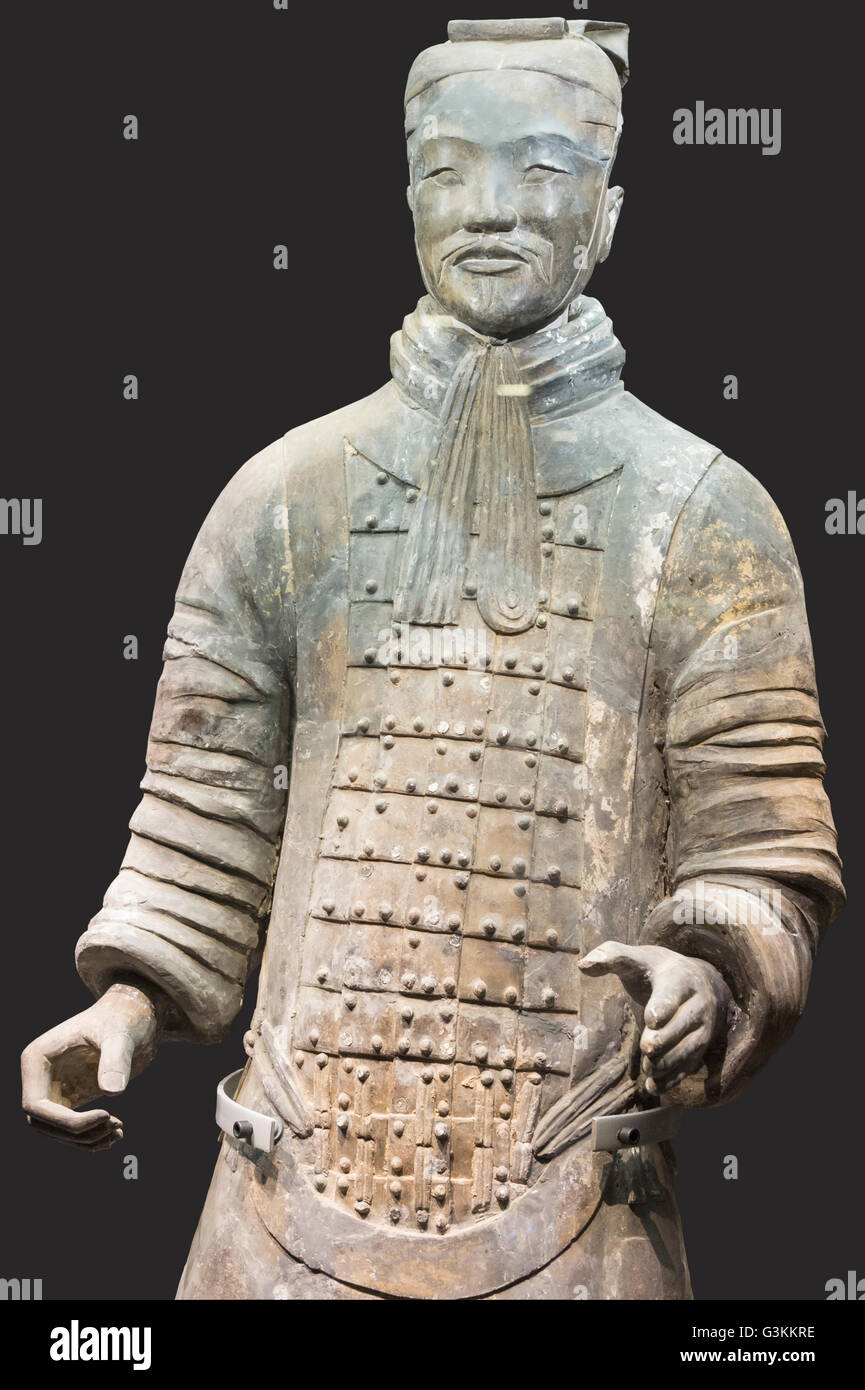 Museum of the Terracotta Warriors, Middle-ranking Officer, Mausoleum of the first Qin Emperor, Xian, Shaanxi Province, - Stock Image