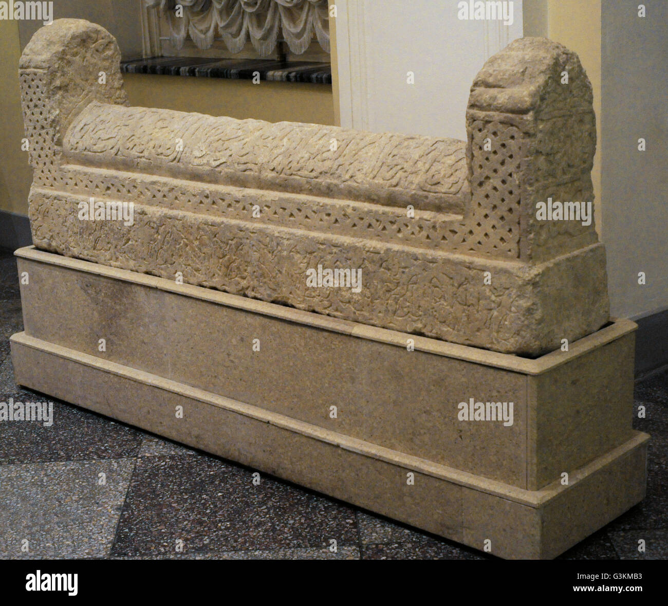 Tombstone. The Golden Horde. Crimea (Solkhat). 14th century. The keel-like top of this tombstone bears an Arabic - Stock Image