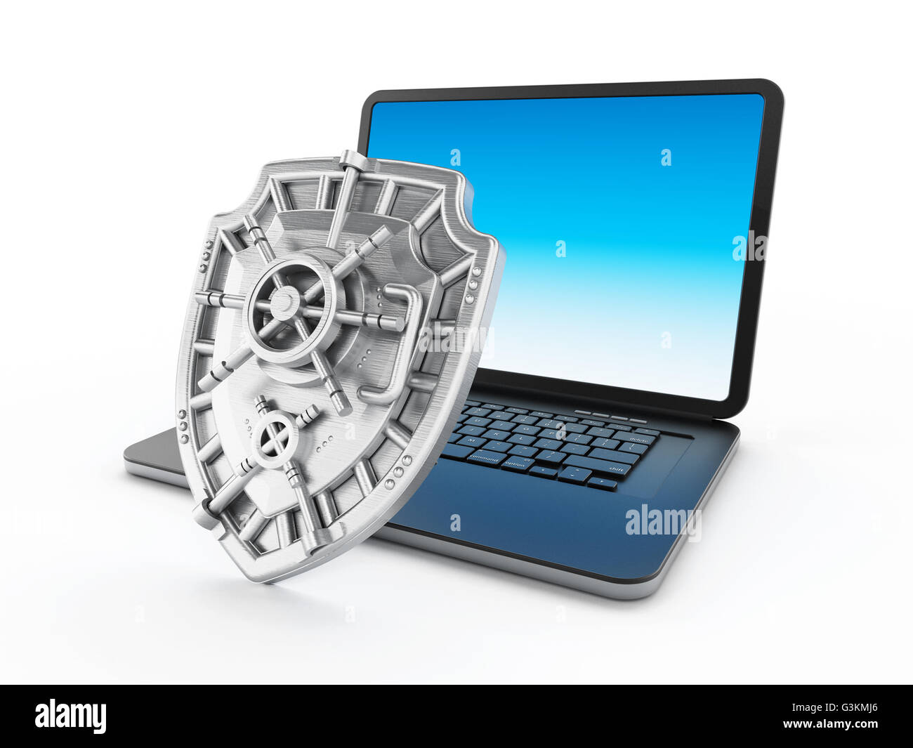 Iron shield protecting laptop computer. 3D illustration. Stock Photo