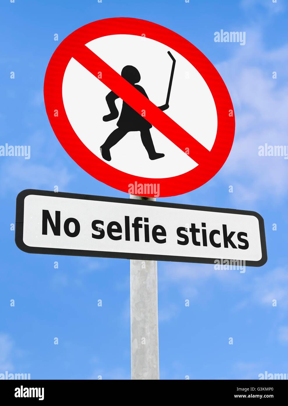 No selfie sticks sign. - Stock Image