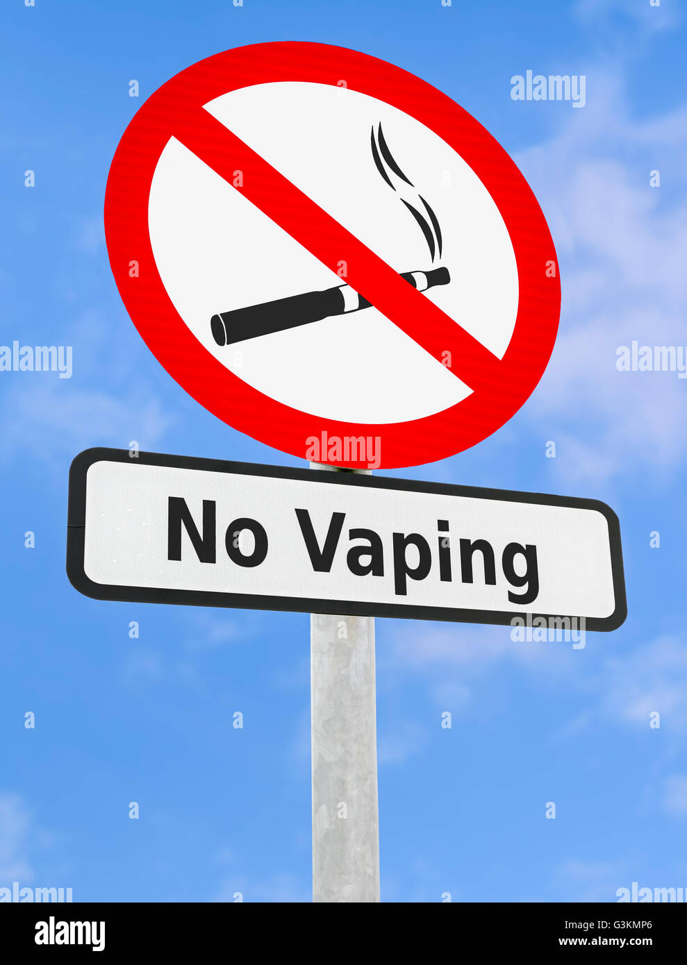 No Vaping warning sign. - Stock Image