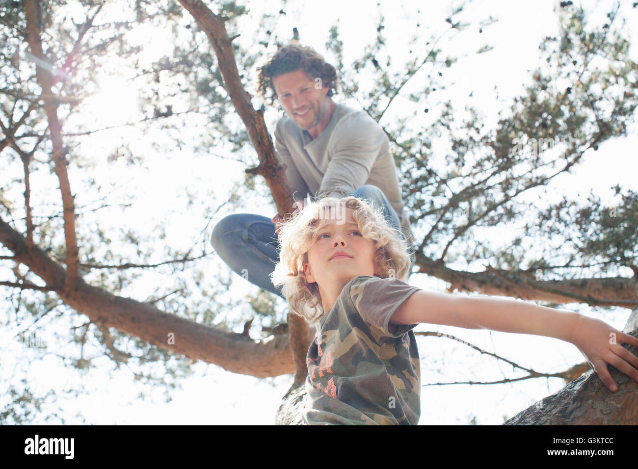 Father and son climbing tree - Stock Image