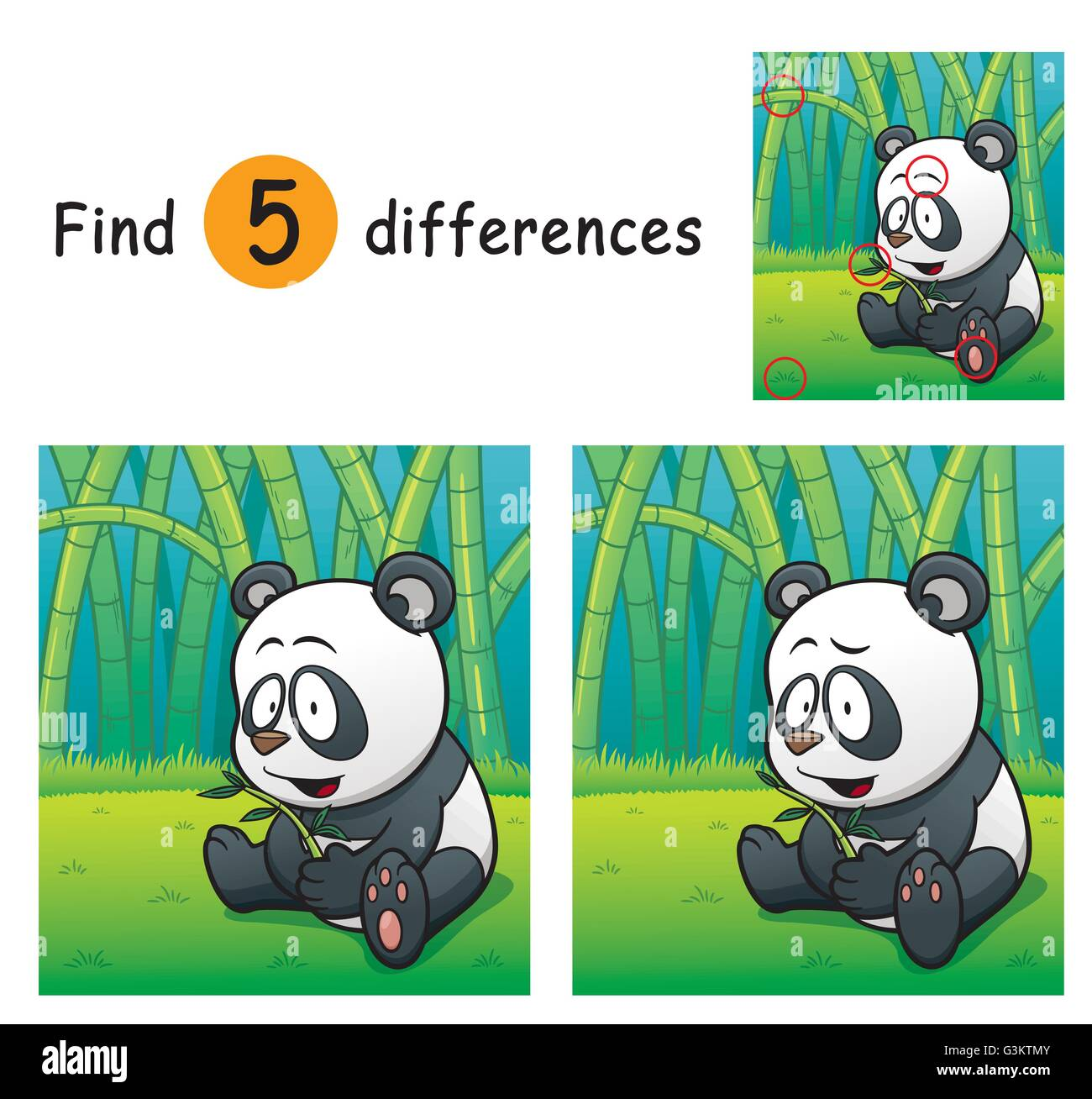 Vector Illustration of Game for children find differences - Panda - Stock Vector