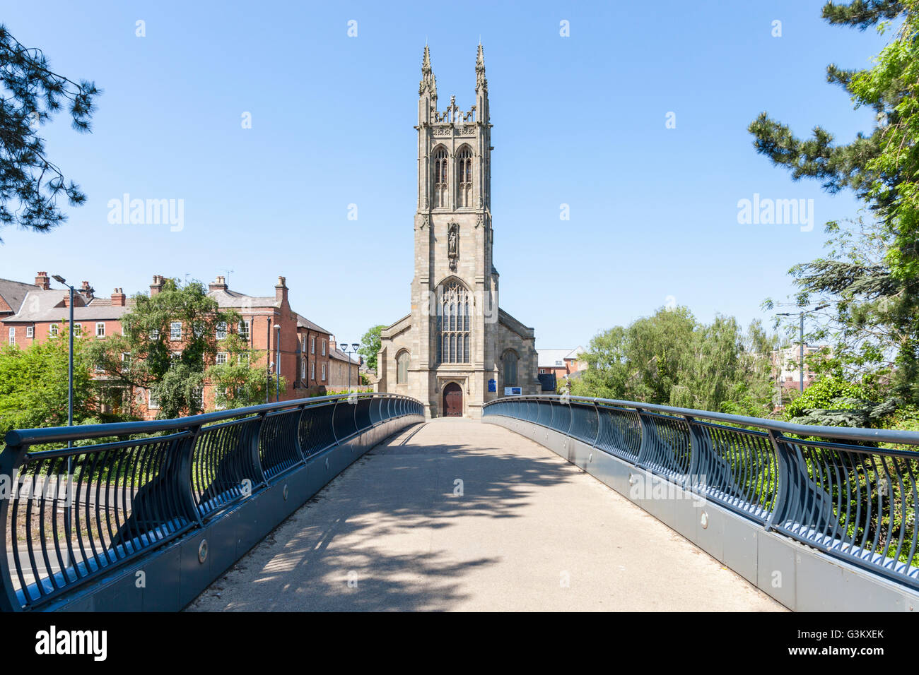 St Mary's Catholic Church, approached by a footbridge over the A601, Derby, England, UK - Stock Image