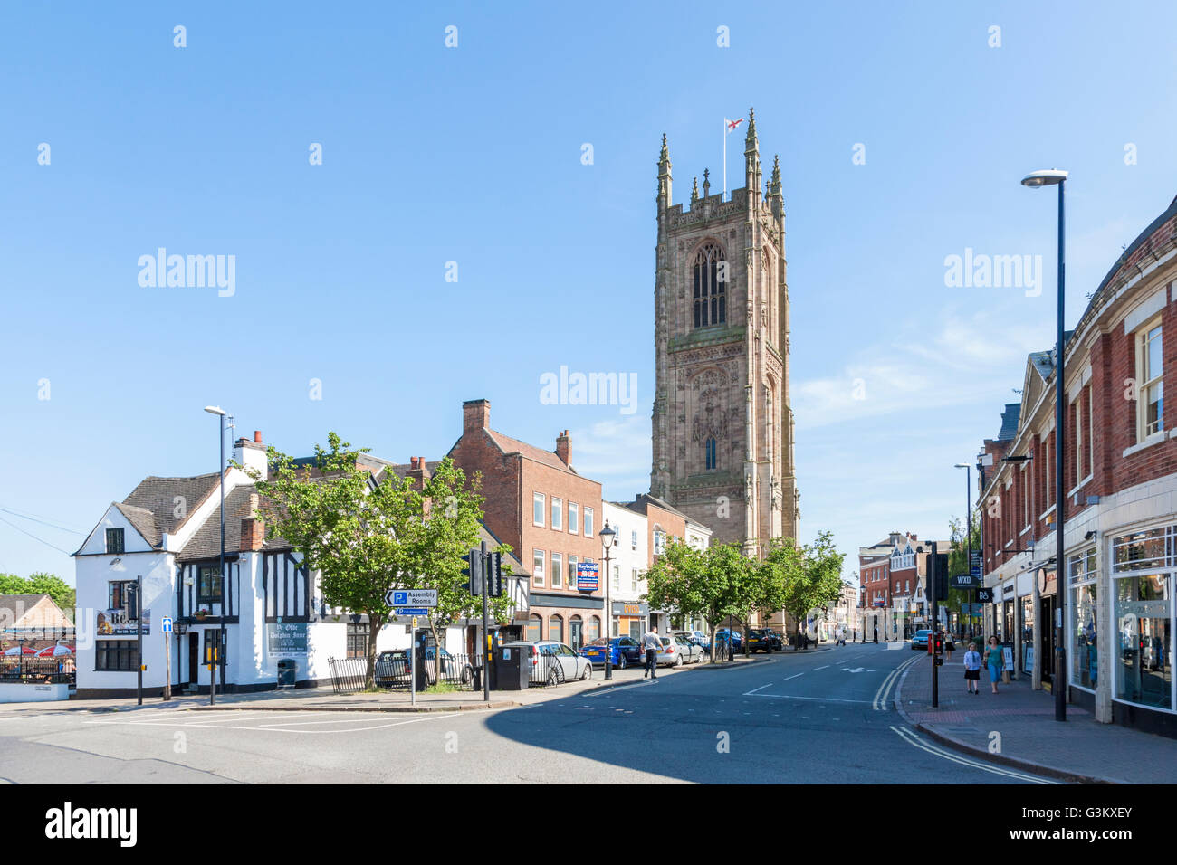 The Cathedral and shops on Iron Gate in Derby city centre, England, UK - Stock Image