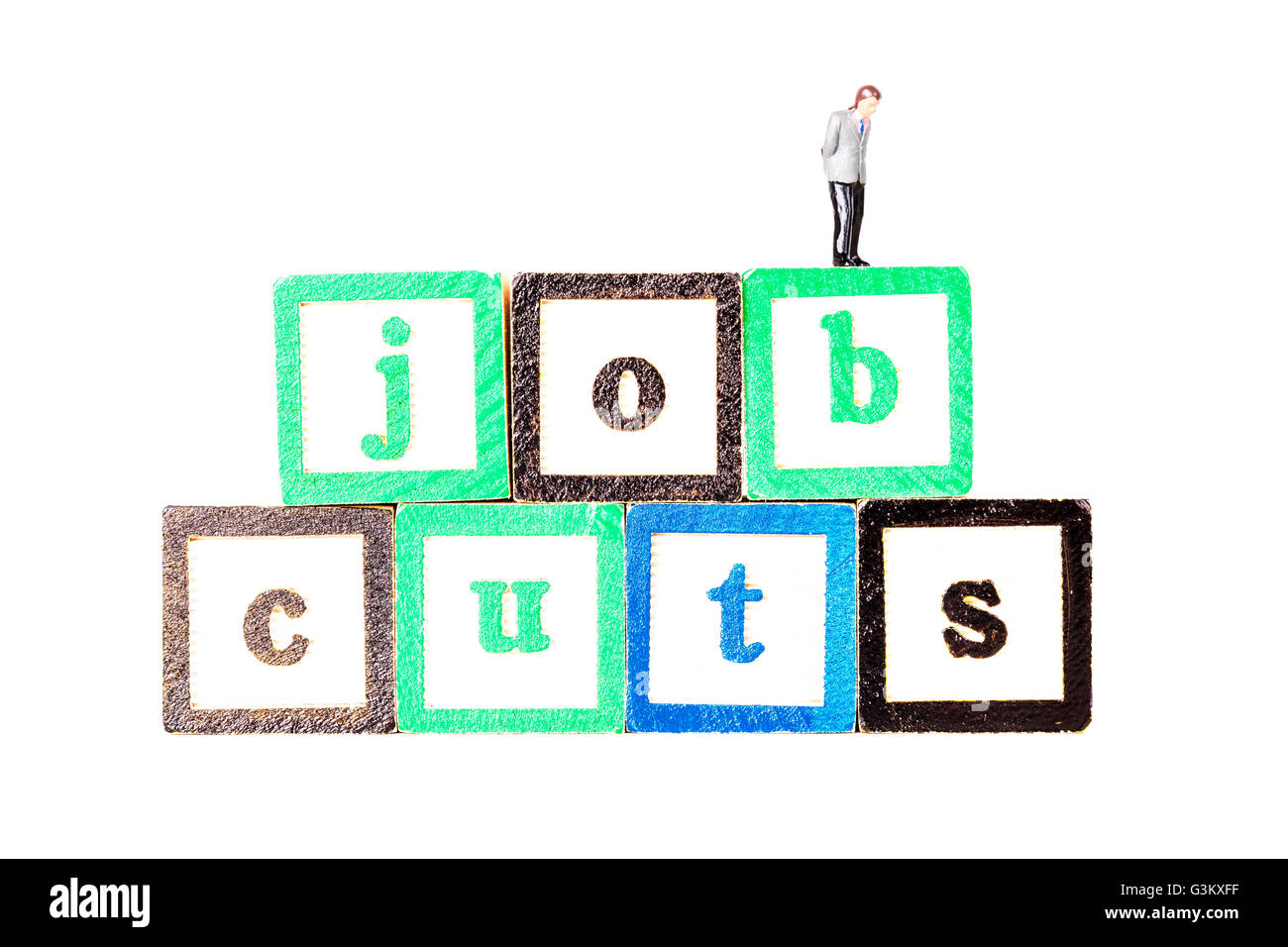 job cuts redundancies redundancy cut backs work loss workers losing employment Cutout cut out white background isolated - Stock Image
