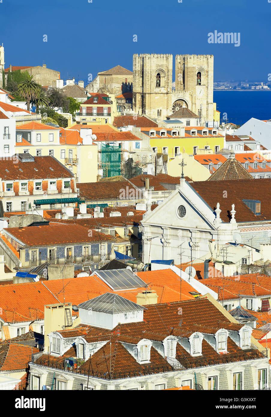 Lisbon city centre, elevated view, Lisbon, Portugal Stock Photo