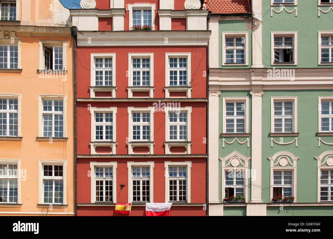 Colourful facades of town houses on Rynek, market square, in Wroclaw, Lower Silesia, Poland, Europe Stock Photo