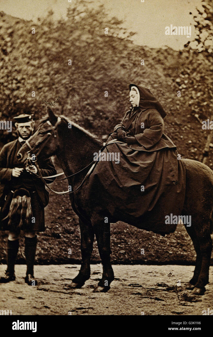 George Washington Wilson - Queen Victoria on 'Fyvie' with John Brown at Balmoral  - - Stock Image