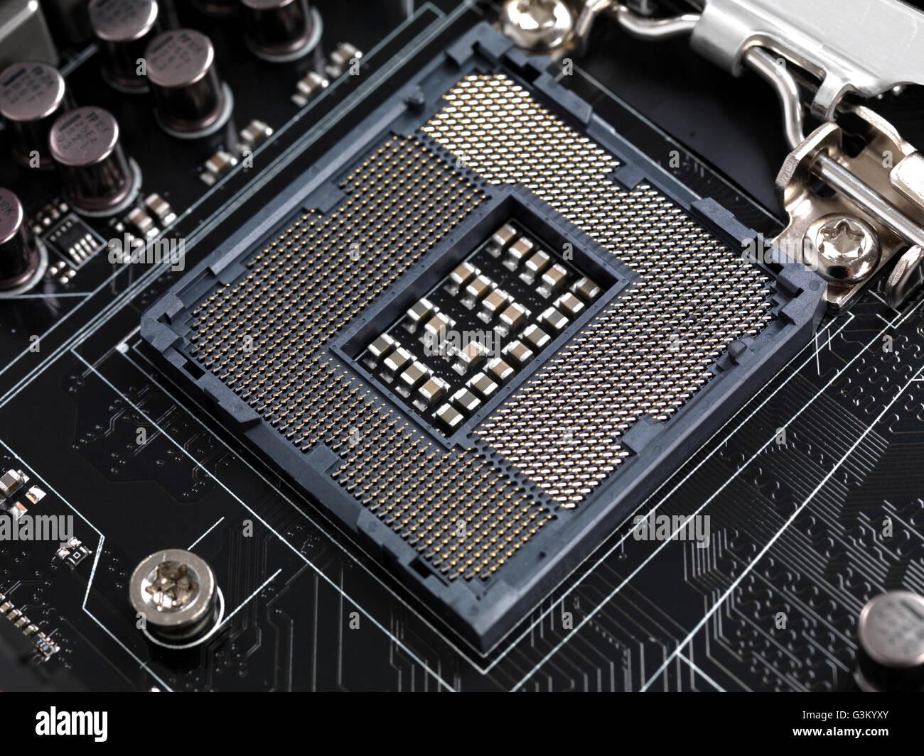 Computer motherboard CPU socket contacts Intel LGA 1155 - Stock Image