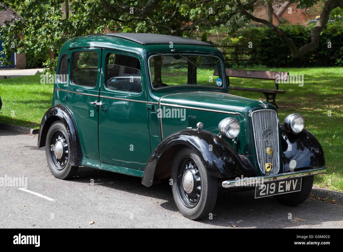 Green Austin Seven, old motor car, Romsey, Hampshire, England, United Kingdom, Europe - Stock Image