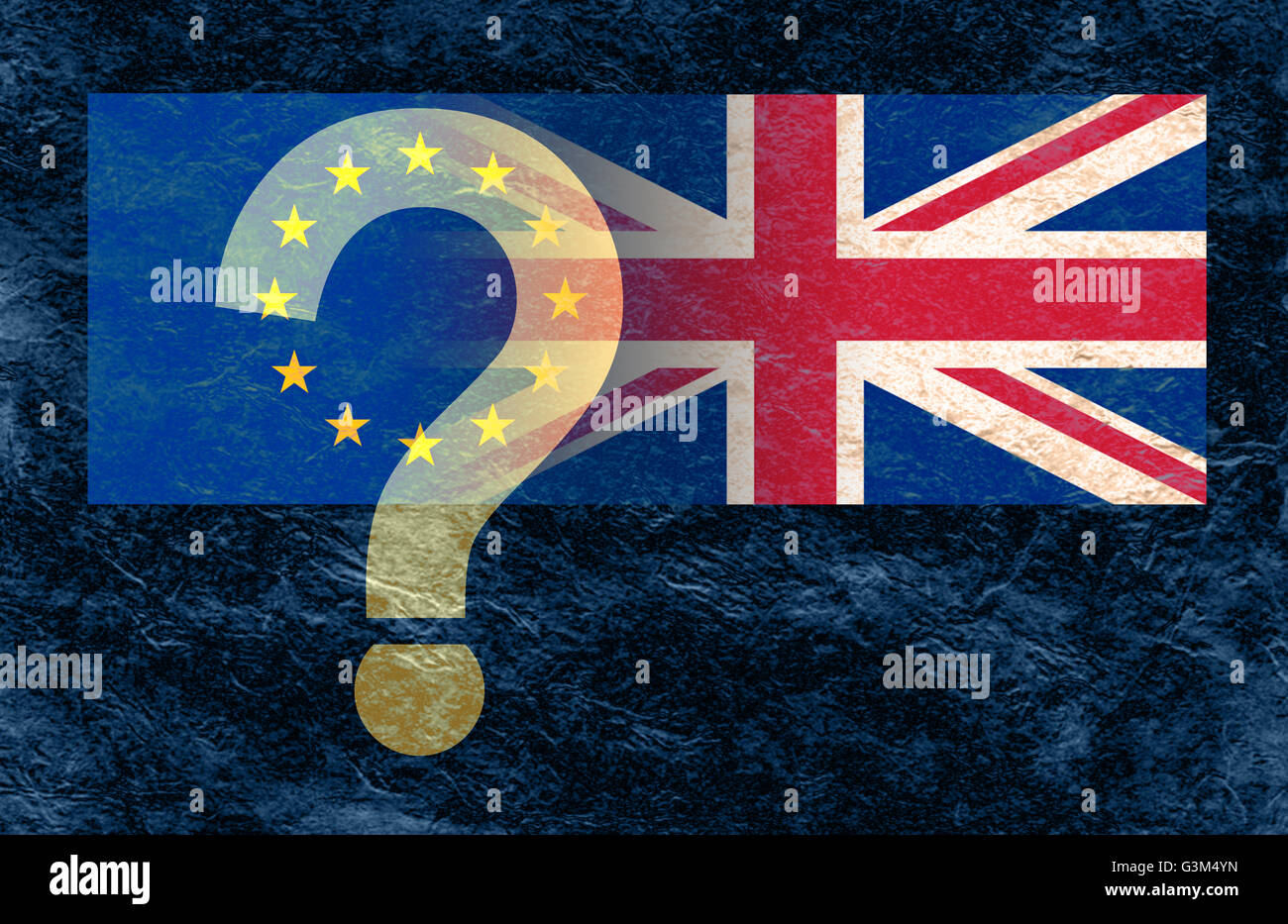 Dark stone background with a European Union flag and Union Jack flag merging together and a transparent ? over the Stock Photo