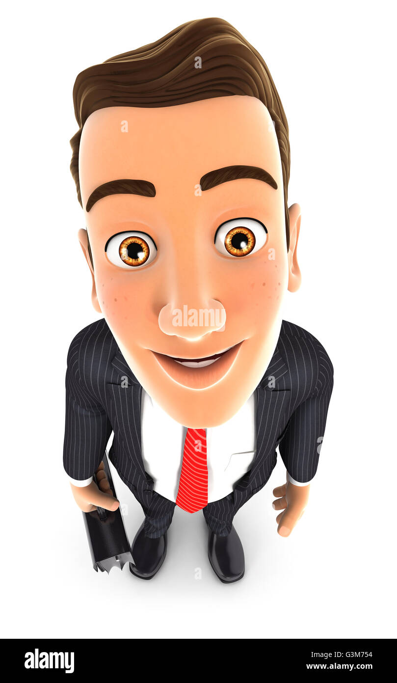 3d businessman standing and looking up at camera, illustration with isolated white background Stock Photo