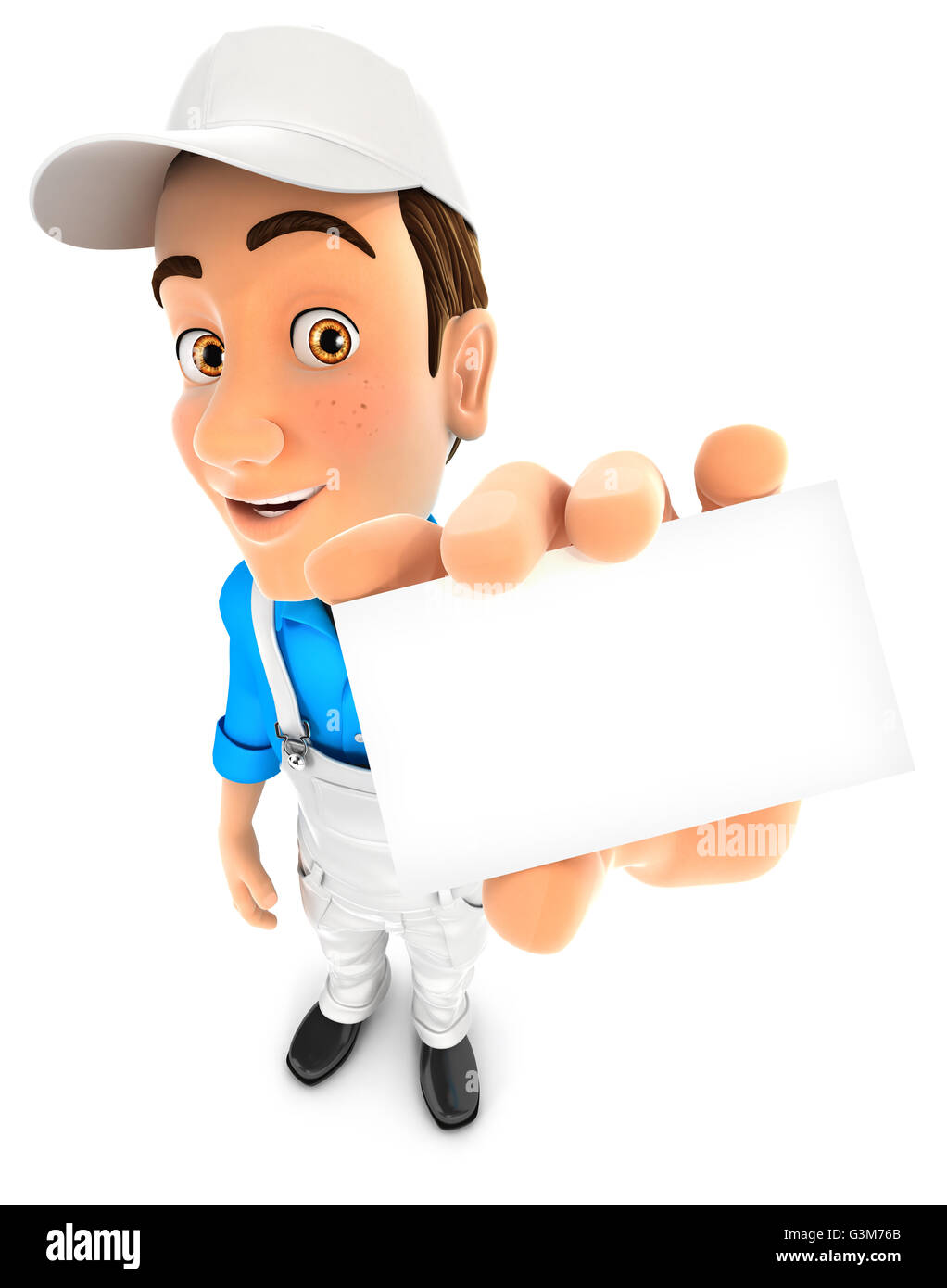 3d painter holding company card, illustration with isolated white background Stock Photo