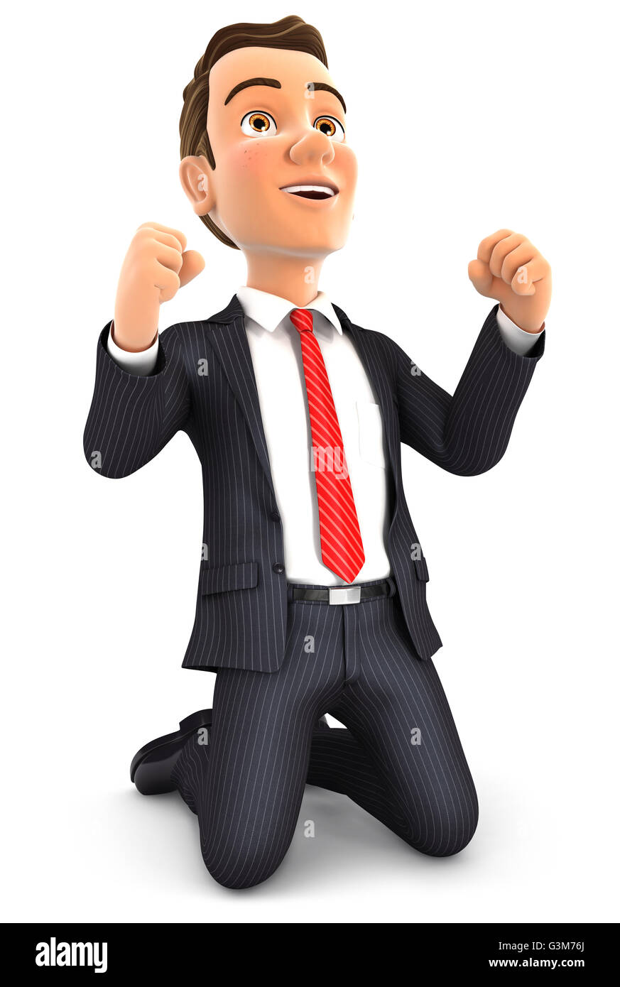 3d successful businessman on his knees, illustration with isolated white background Stock Photo