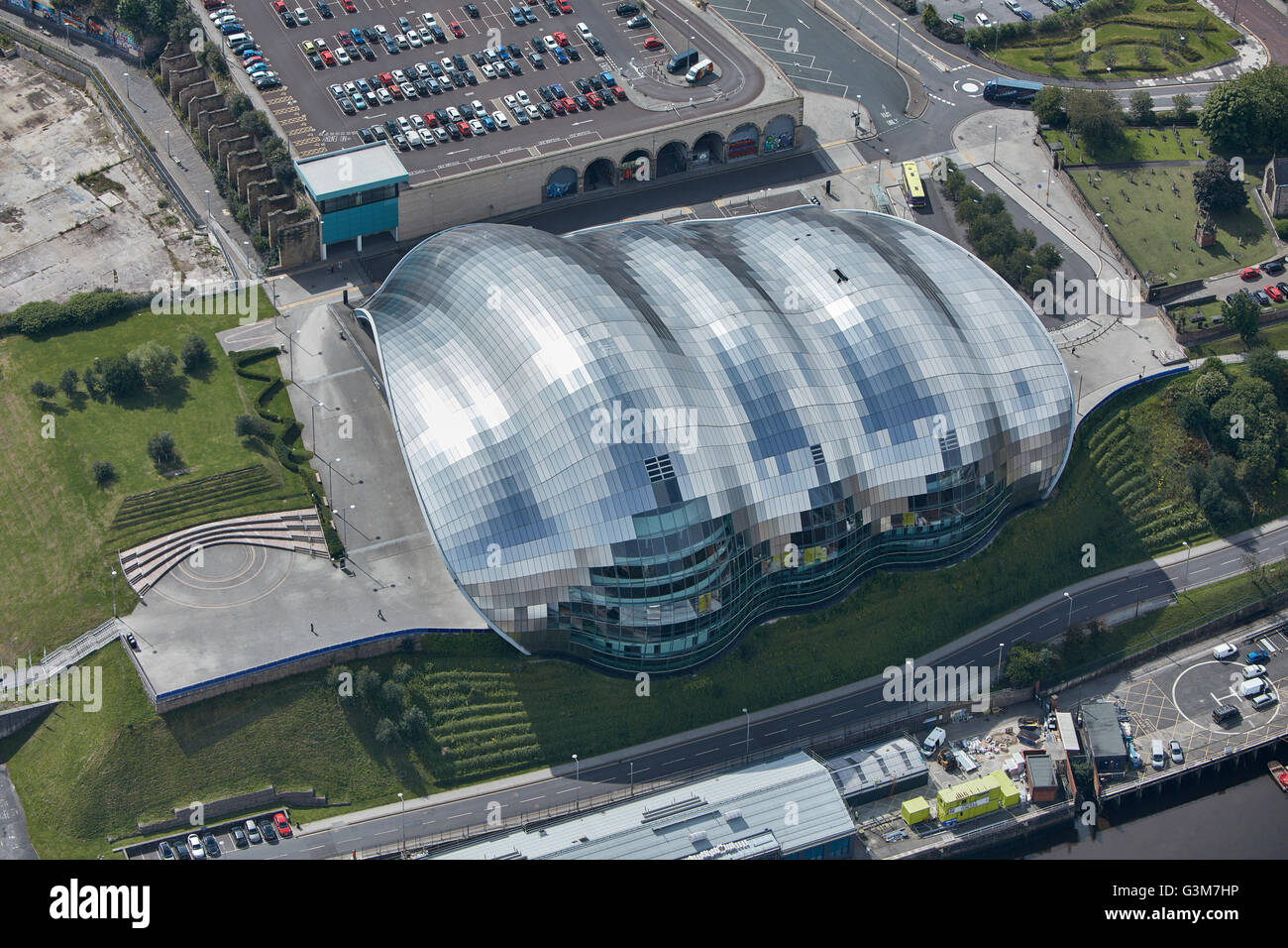 An aerial view of Sage Gateshead. Stock Photo