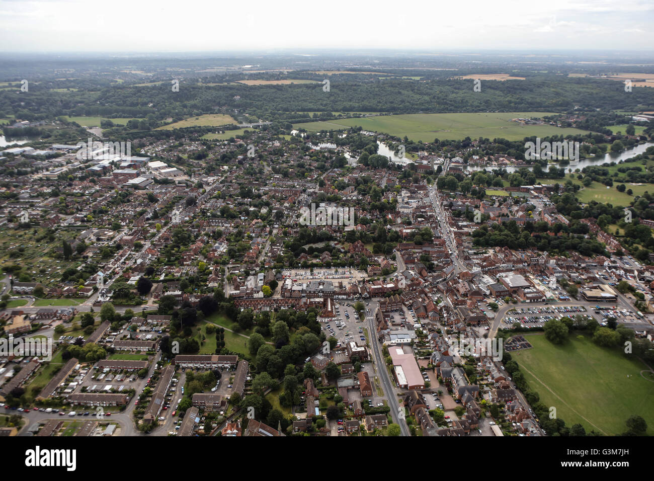 An aerial view of Marlow, Buckinghamshire Stock Photo