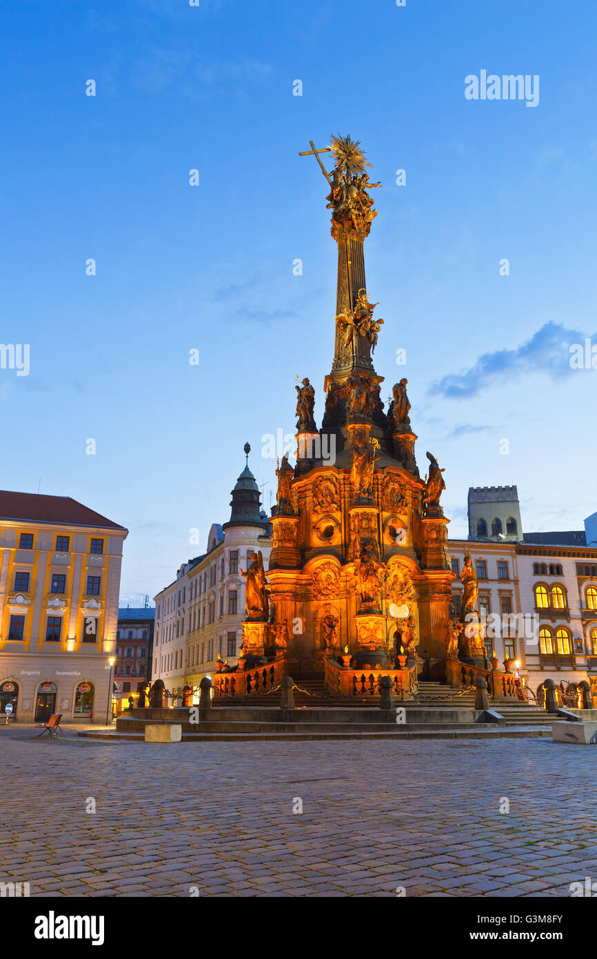 Holy Trinity Column in the main square of the old town of Olomouc, Czech Republic. - Stock Image