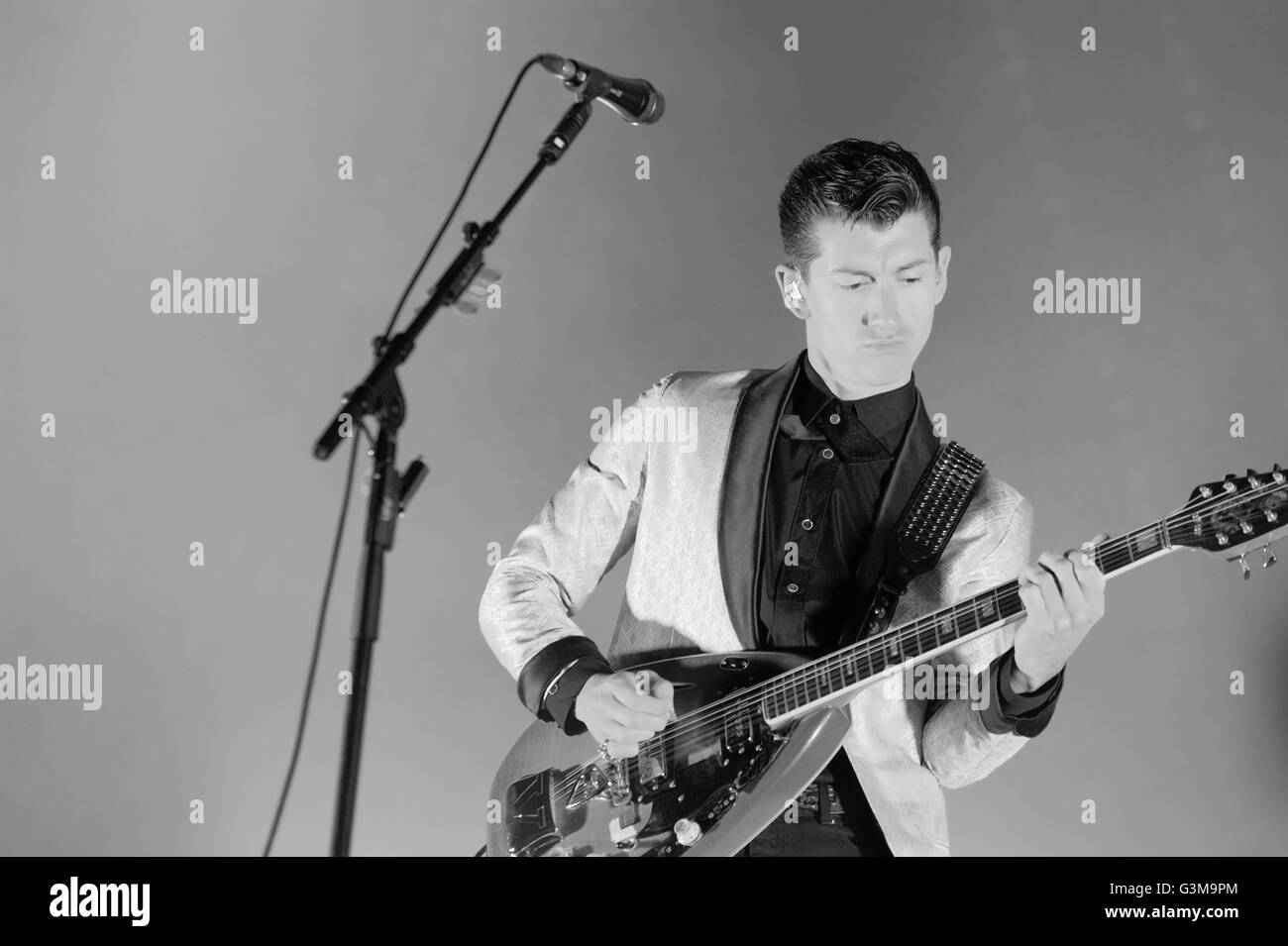 Alex Turner of English rock band Arctic Monkeys performs at Zurich Openair Festival 2013. - Stock Image