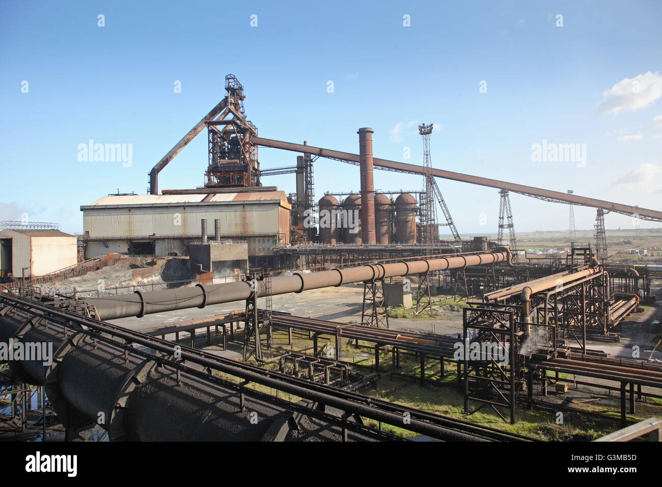 High level view of the blast furnace at Redcar Steelworks, Teeside, UK. Taken in 2008 before closure. - Stock Image