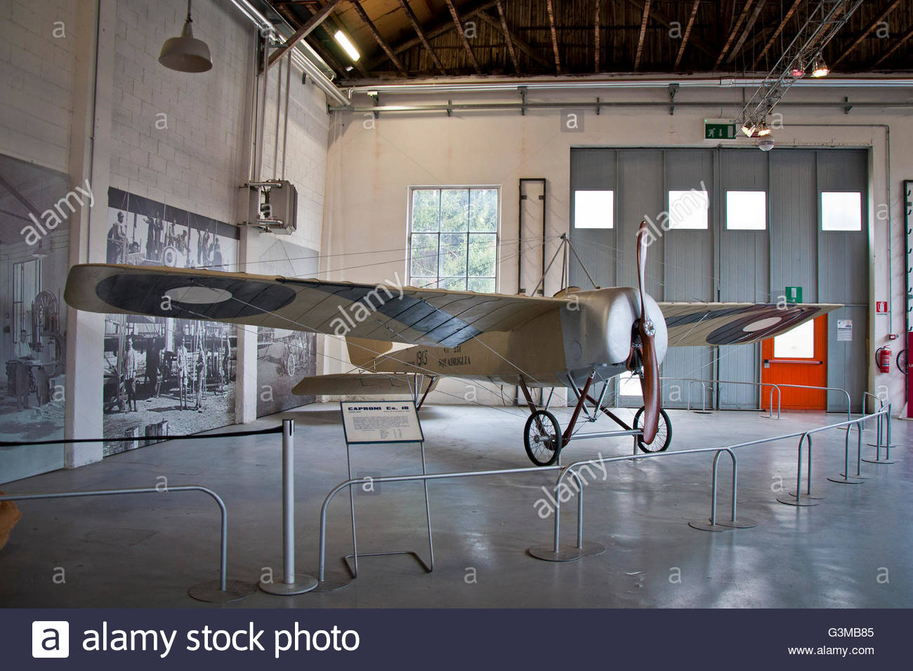 two-seater observation CA.18 caproni,volandia,park and museum of flight,somma lombardo,italy - Stock Image