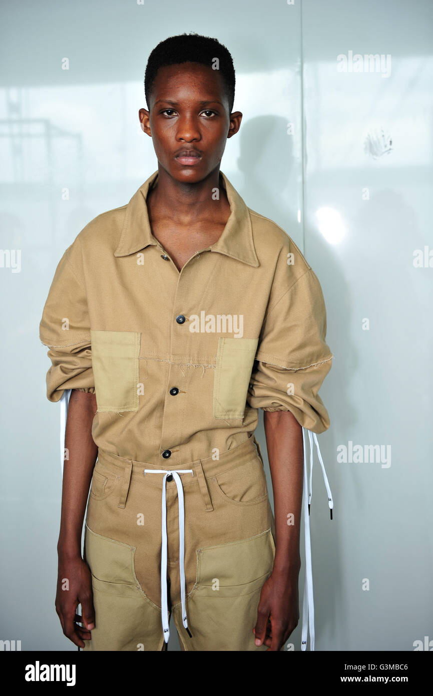 581ce69395 A model backstage at the Liam Hodges London Collections Men SS17 show held  at the BFC Show Space The Strand, London.
