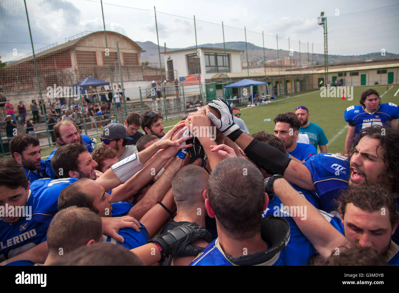 American football game between Sharks Palermo and Mad Bulls Barletta held at Ribolla Calcio. The match ended up - Stock Image
