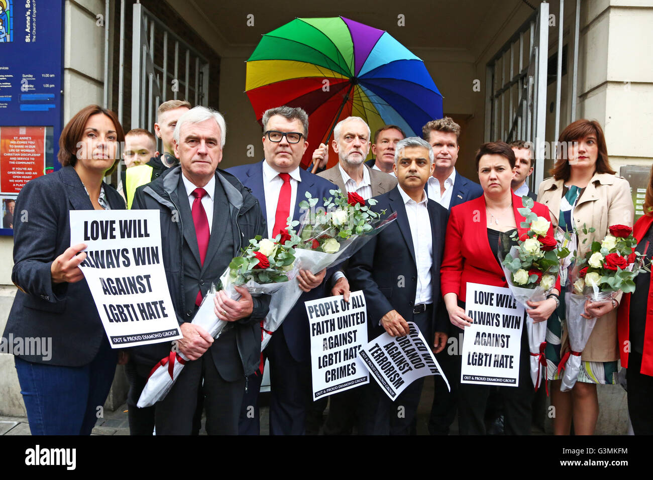London, UK. 13th June, 2016. London Mayor Sadiq Khan with Jeremy Corbyn, American Ambassador Matthew Barzun and - Stock Image