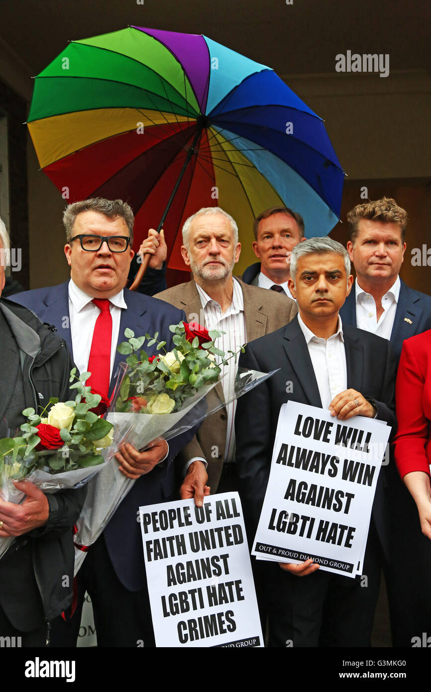 London, UK. 13th June, 2016. London Mayor Sadiq Khan with Jeremy Corbyn, Tom Watson and American Ambassador Matthew - Stock Image
