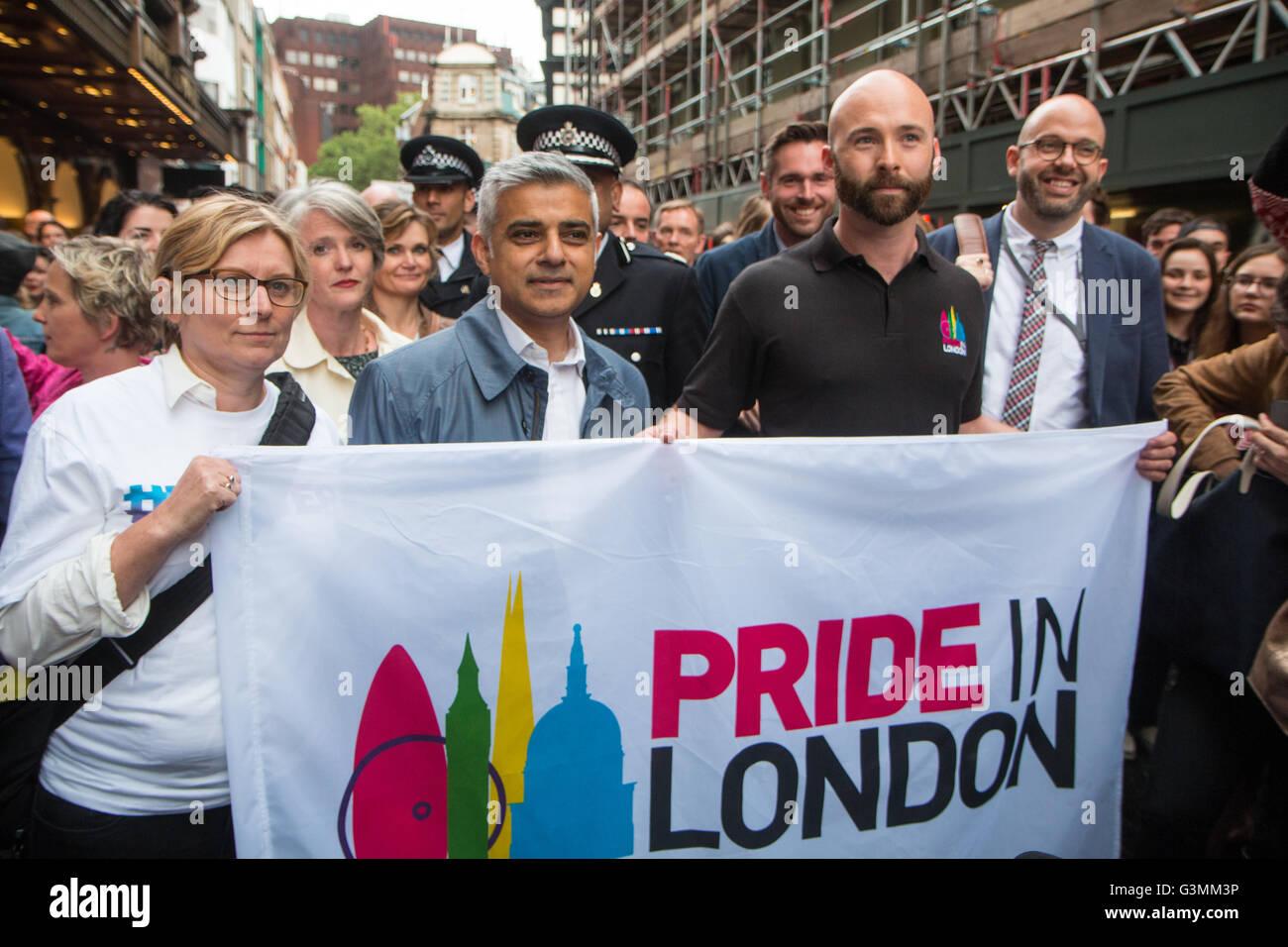 Mayor of London Sadiq Khan and director of Pride in London (Michael Salter) - Stock Image