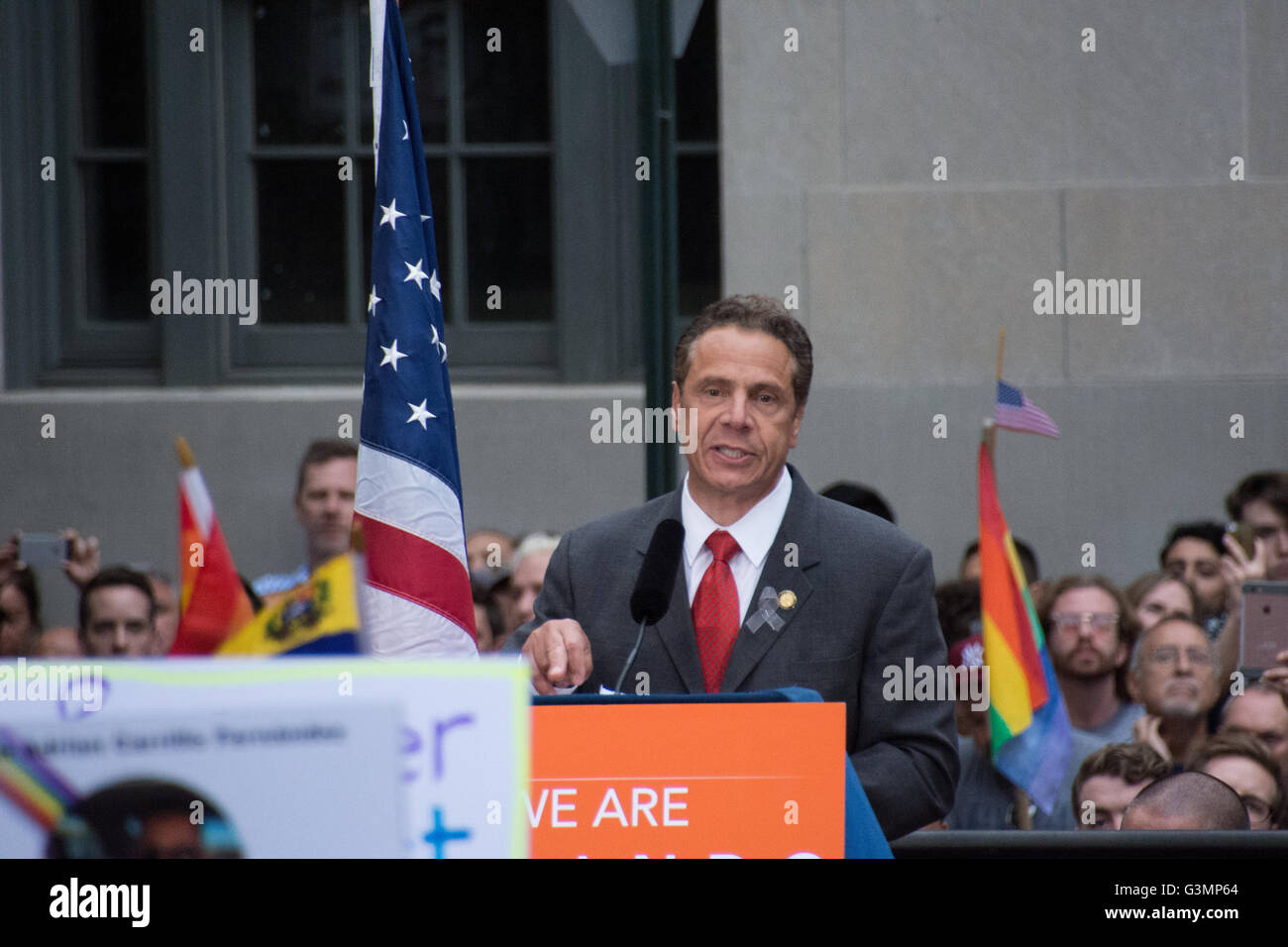 New York, USA. 13th June 2016. NY Governor Andrew Cuomo assures the LGBT community that New York stands with them. - Stock Image