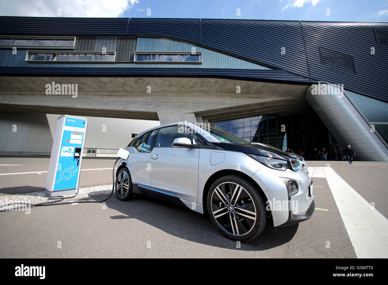 Two Bmw I3 Electric Cars In Front Of The Bmw Factory In Leipzig