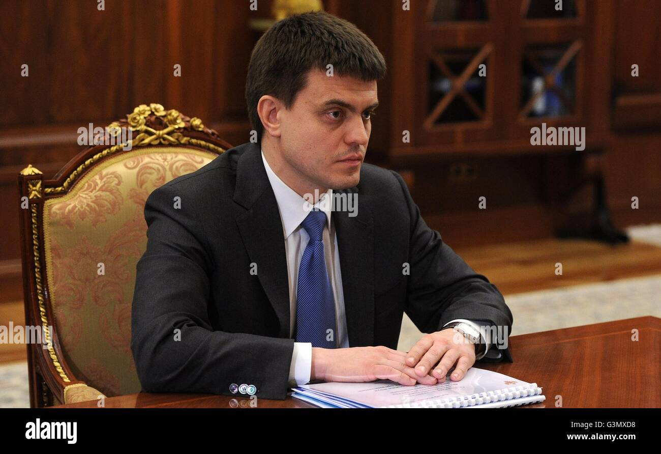 Moscow, Russia. 14th June, 2016. Director of the Federal Agency for Scientific Organizations Mikhail Kotyukov during - Stock Image