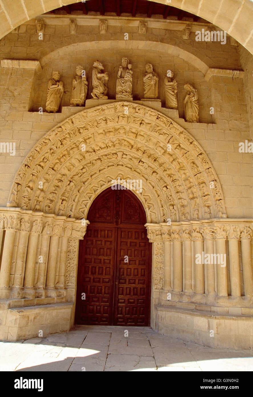 Romanesque facade of the church. Tuesta, Alava province, Basque Country, Spain. - Stock Image