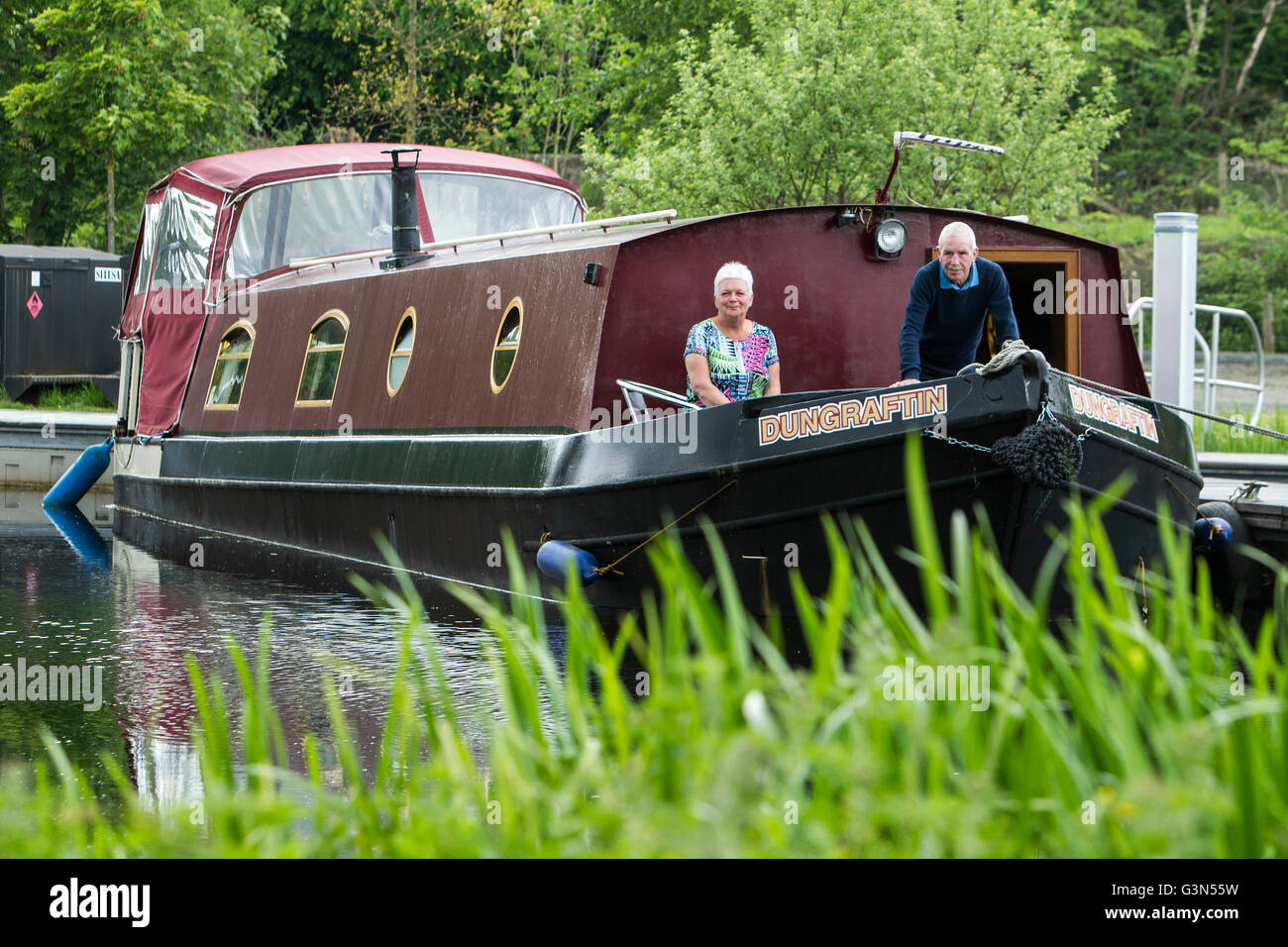 House Boat on Forth and Clyde Canal - Stock Image