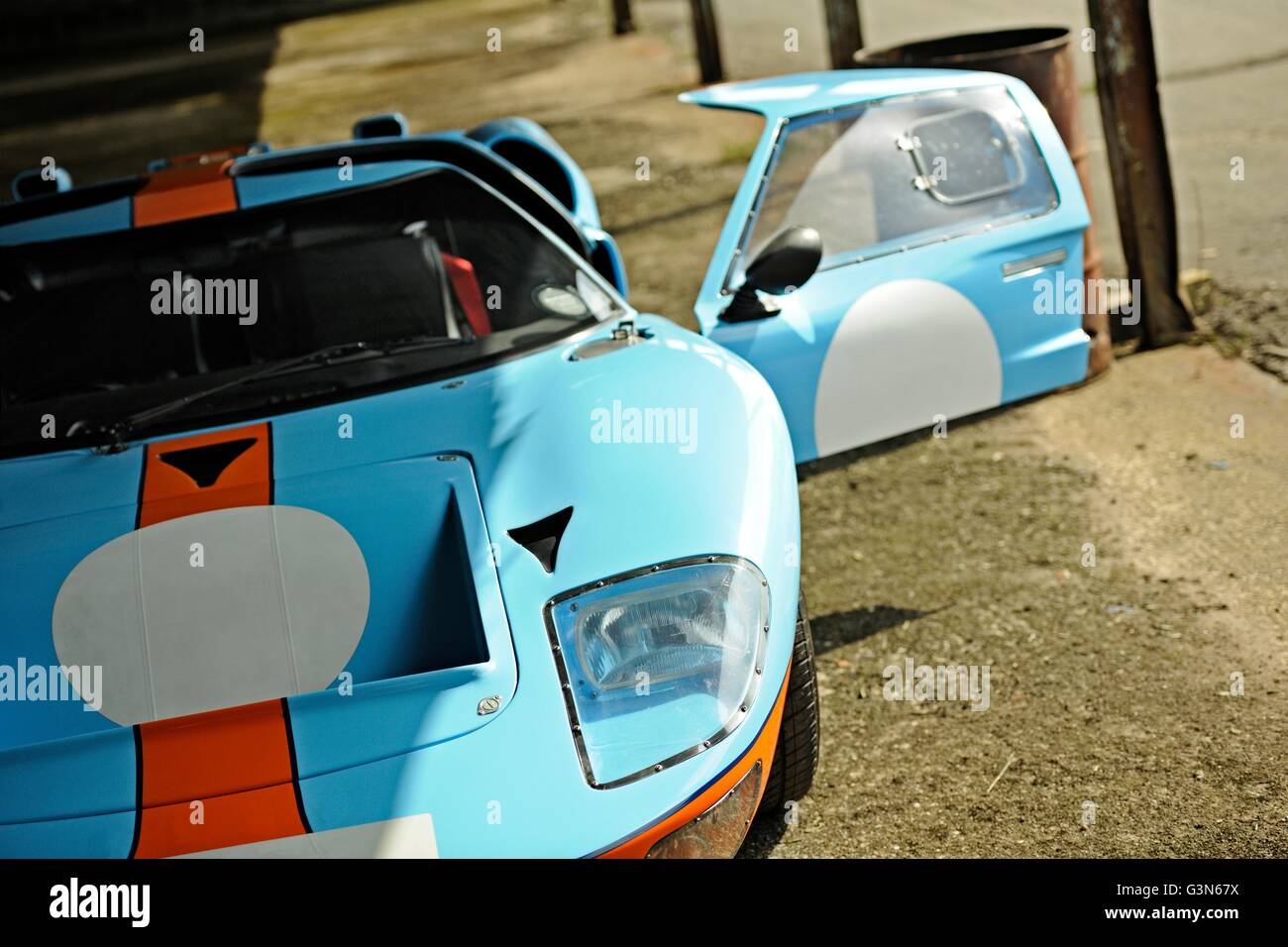 Front View of Ford GT MkII in Gulf Racing livery with one door open - Stock Image