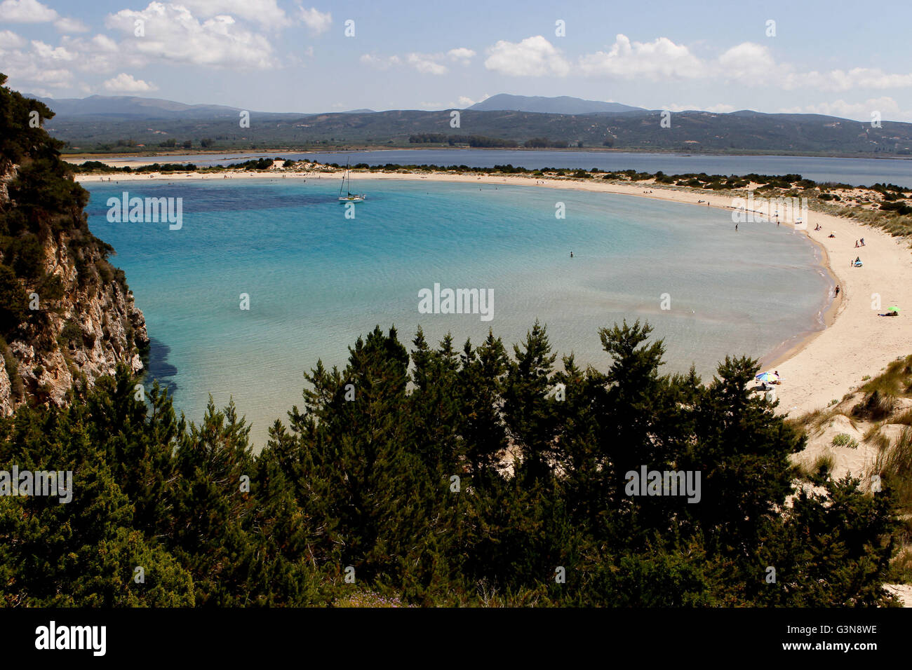 Voidokilia beach just north of Yialova and Pylos on the Messinian coast Southern Peloponnese Greece - Stock Image