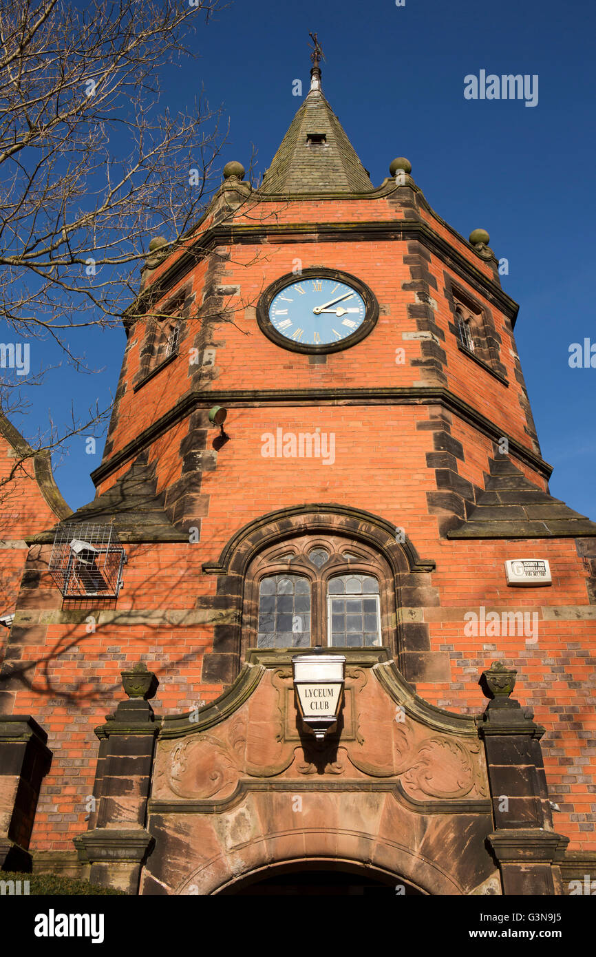 UK, England, Wirrall, Port Sunlight, Lyceum Club clock tower, (formerly village school) Stock Photo