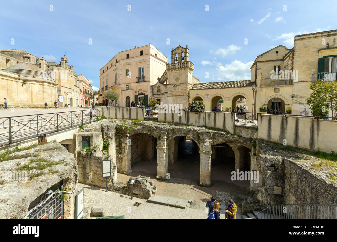 Italy, Basilicata, Matera, Materdomini church and Santo Spirito church - Stock Image