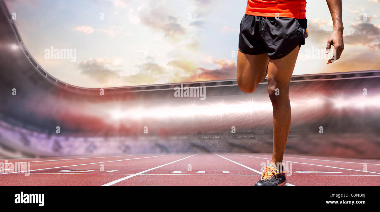 Composite image of athletic man hopping - Stock Image