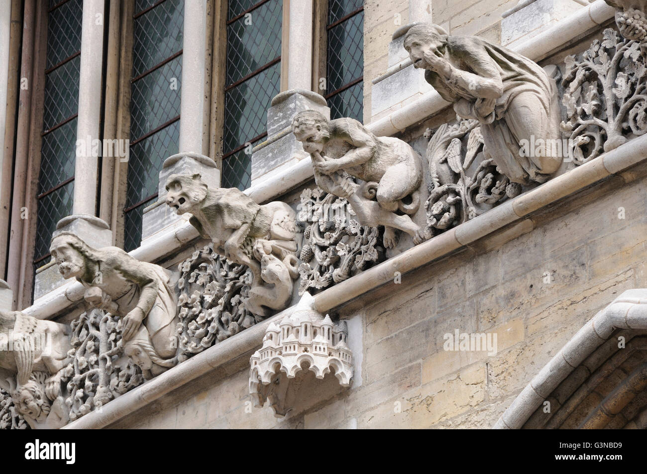Gargoyles on facade of Notre Dame cathedral, Dijon, Côte d'Or departement, Burgundy, France, Europe Stock Photo