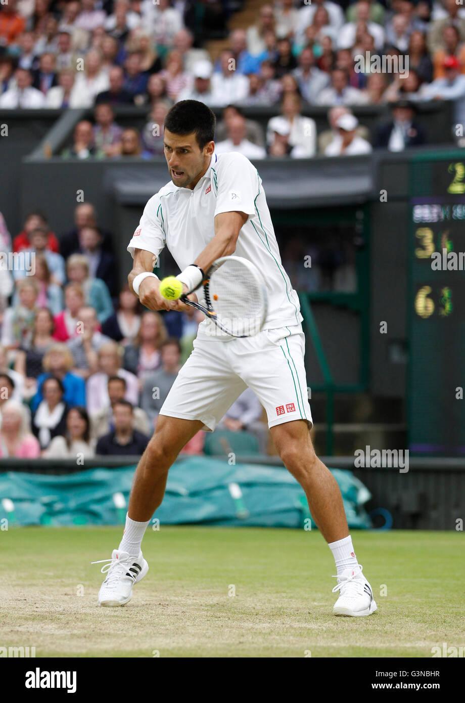 Novak Djokovic, SRB, men's semi-final match, Wimbledon Championships 2012 AELTC, ITF Grand Slam Tennis Tournament, - Stock Image