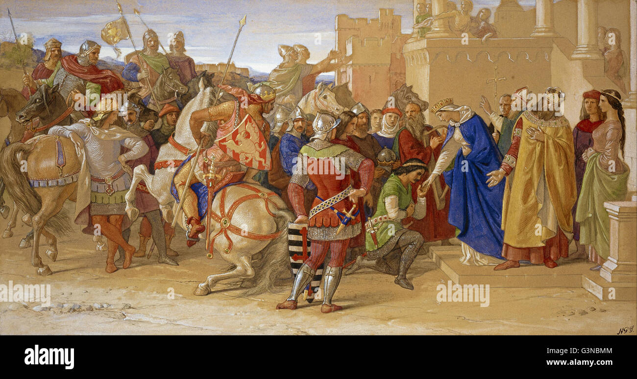 William Dyce - Piety- The Knights of the Round Table about to Depart in Quest of the Holy - Stock Image