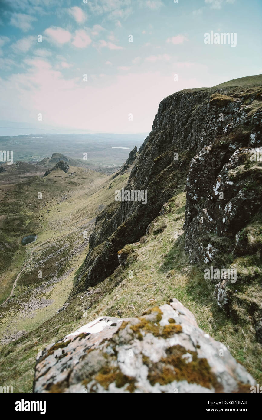 A look down to valley from the Quairaing, on the Isle of Skye's Trotternish Ridge in Summer - Stock Image