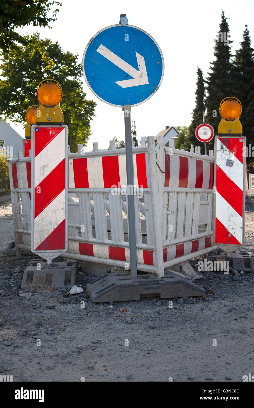 Barricade for road construction, renewal of the sewerage system, Koenigstrasse, Kamen, Ruhr Area, North Rhine-Westphalia Stock Photo
